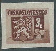 1945 CECOSLOVACCHIA STEMMA E FRONDA DI TIGLIO 3 KR MNH ** - RC19-6 - Cecoslovacchia