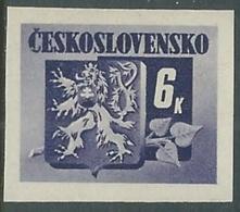 1945 CECOSLOVACCHIA STEMMA E FRONDA DI TIGLIO 6 KR MNH ** - RC19-5 - Cecoslovacchia