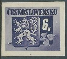 1945 CECOSLOVACCHIA STEMMA E FRONDA DI TIGLIO 6 KR MNH ** - RC19-6 - Cecoslovacchia