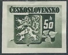1945 CECOSLOVACCHIA STEMMA E FRONDA DI TIGLIO 50 H MH * - RC19 - Cecoslovacchia
