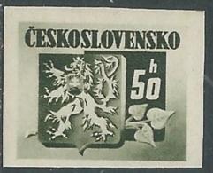 1945 CECOSLOVACCHIA STEMMA E FRONDA DI TIGLIO 50 H MNH ** - RC19-5 - Cecoslovacchia