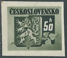 1945 CECOSLOVACCHIA STEMMA E FRONDA DI TIGLIO 50 H MNH ** - RC19-6 - Cecoslovacchia