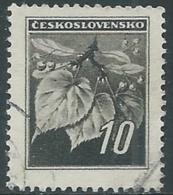 1945 CECOSLOVACCHIA USATO FRONDA DI TIGLIO 10 H - RC22-2 - Usati