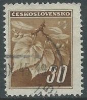 1945 CECOSLOVACCHIA USATO FRONDA DI TIGLIO 30 H - RC22-5 - Usati