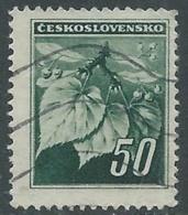 1945 CECOSLOVACCHIA USATO FRONDA DI TIGLIO 50 H - RC22-5 - Usati