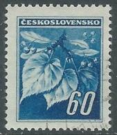 1945 CECOSLOVACCHIA USATO FRONDA DI TIGLIO 60 H - RC22-6 - Usati