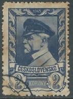 1945 CECOSLOVACCHIA USATO PRESIDENTE TOMAS GARRIGUE MASARYK 2 KR - RC20-4 - Usati