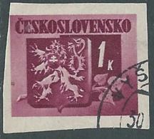 1945 CECOSLOVACCHIA USATO STEMMA E FRONDA DI TIGLIO 1 KR - RC22-2 - Usati