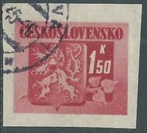 1945 CECOSLOVACCHIA USATO STEMMA E FRONDA DI TIGLIO 1,50 KR - RC22-2 - Usati