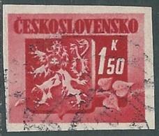 1945 CECOSLOVACCHIA USATO STEMMA E FRONDA DI TIGLIO 1,50 KR - RC22-3 - Usati