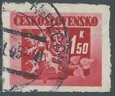 1945 CECOSLOVACCHIA USATO STEMMA E FRONDA DI TIGLIO 1,50 KR - RC22-4 - Usati