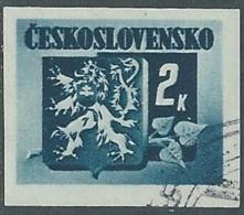1945 CECOSLOVACCHIA USATO STEMMA E FRONDA DI TIGLIO 2 KR - RC22-2 - Usati