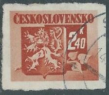 1945 CECOSLOVACCHIA USATO STEMMA E FRONDA DI TIGLIO 2,40 KR - RC22-2 - Usati