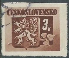 1945 CECOSLOVACCHIA USATO STEMMA E FRONDA DI TIGLIO 3 KR - RC22-2 - Usati