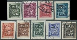 1945 CECOSLOVACCHIA USATO STEMMA E FRONDA DI TIGLIO 9 VALORI - RC22 - Usati
