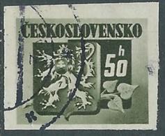 1945 CECOSLOVACCHIA USATO STEMMA E FRONDA DI TIGLIO 50 H - RC22-2 - Usati