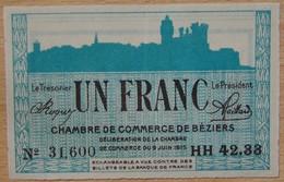 BEZIERS ( 34) 1 Franc Chambre De Commerce 9 JUIN 1915 Série RR - Chambre De Commerce