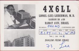 QSL Card Amateur Radio Station CB Funkkarte 1984 Lionel Lieberman Ramat Aviv Israel Kashani 4X6LL - Radio Amateur