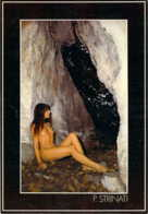 Superbe Jeune Femme Nue Assise Dans Une Grotte Par P.Strinati Heliotex à Bernex - Nudi Artistici (1960-…)