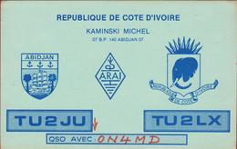 QSL Card Amateur Radio Station CB Funkkarte 1984 Michel Kaminsky Cote D'Ivoire Ivory Coast Abidjan Elephant Olifant - Radio Amateur