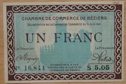 BEZIERS ( 34) 1 Franc Chambre De Commerce 9 JUIN 1915 Série S - Chamber Of Commerce