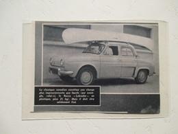 """Nouvelle Renault Dauphine -  Transport Canoe ROCCA """"Labrador""""  - Coupure  De Presse De 1960 - Voitures"""