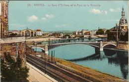 44 - NANTES - LA GARE D'ORLÉANS ET LE PONT DE LA ROTONDE - Nantes