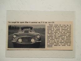 Nouveau Coupé Sport Fiat V8 110 Cv  - Coupure  De Presse De 1953 - Voitures