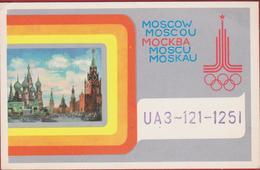 QSL Card Amateur Radio Station Funkkarte Soviet Propaganda Soviet Russia USSR Olympic Games 1980 Moscow 1979 CCCP - Radio Amateur