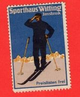 9 Poster Stamps Advertising Cinderellas Sport Ski Skiing Schweiz Wintersport Snow Humor Graubünden Bayer 1914 Innsbruck - Sports D'hiver