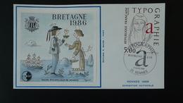 Lettre FDC Cover Raymond Gid Typographie Bloc CNEP Peynet Salon Philatélique De Bretagne Rennes 1986 - 1980-1989