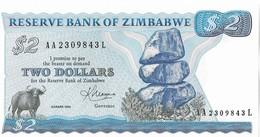 ZIMBABWE=1983    2  DOLLARS    P-1  Sign 2    UNC - Zimbabwe
