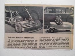 Etats Unis USA Voiture électrique Dodge 2 Places Pour Enfant  -  Coupure  De Presse De 1950 - Jouets Anciens