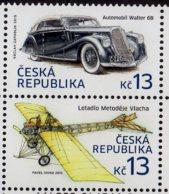 2015 Czech Republic Hystorical Transportation Auto Walter 6B / Plane By M. Vlach 2v Setetnant  MNH** MiNr. 836 - 837 - Cars