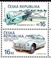 2016 Czech Republic Hystorical Transport Auto Tatra 87 /Air Plane Aero Ab-11 2v Setenant  MNH** MiNr. 901 - 902 - Cars