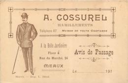 MEAUX AVIS DE PASSAGE A . COSSUREL HABILLEMENTS MEAUX PLACE DU MARCHE - Reclame