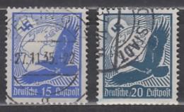 DR  531 Y-532 Y, Gestempelt, Flugmarken Steinadler 1934, Waagerecht Geriffelt - Oblitérés