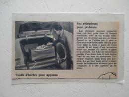Sac Glacière Souple Pour Automobile  -  Coupure  De Presse De 1956 - Camping