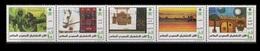 2001 SAUDI ARABIA SAUDI FOLK ART COMPLETE SET 5 VALUES MNH HORSE CASTLE ARCHITECTURE EMBROIDERY - Saudi Arabia