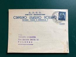 CATANIA A.F.S.O. COMITATO ORGANIZZATORE CONVEGNO FILATELICO SICILIANO   1949 - Catania