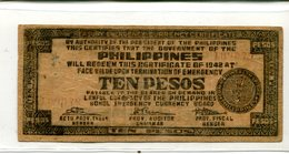 PHILIPPINES 10 PESOS 1942 BOHOL EMERGENCY WW2 NOTE XF 3.25 - Philippines