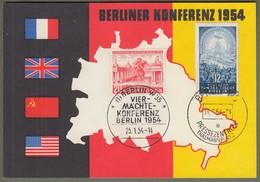 "Berlin: Sonderkarte, Gedenkkarte DDR Mi-Nr. 424 U. Berlin Mi-Nr. 116 ESST: "" Vier-Mächte-Konferenz Berlin "" !   X - Covers & Documents"