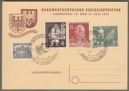 """Berlin: Sonderkarte Mit Mi.-Nr.-Nr. 42, 94, 117 U. Bund 198 SST: """" Schlesiertreffen 1954 """" !    X - Berlin (West)"""