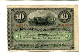 CUBA 10 PESOS 1896 XF SPAIN COLONY 8.95 - Cuba
