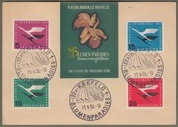 """Bund: Sonderkarte Mit Mi.-Nr. 205-08 Deutsche Lufthansa SST: """" Krefeld, Blumenparadies 1955 """" !      X - Oblitérés"""