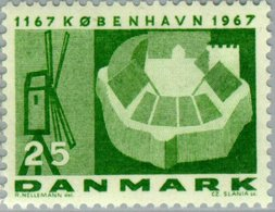 1967 500th Anniversary Of Copenhagen, 25 Ore, Windmill & Fortress MNH - Danimarca