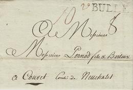 1808- Lettre De BULLE  32 Mm Noir  Pour Couvet - Suisse