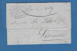 BOUCHES DU RHONE MARSEILLE ACHEMINEUR 1846 Paquebot SULLY Pour LIVOURNE - Posta Marittima