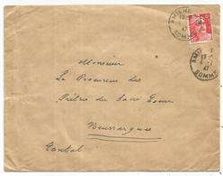 GANDON 6FR ORANGE N°721 SEUL LETTRE AMIENS 4.7.1947 AU TARIF 2em Echelon - 1945-54 Marianne De Gandon