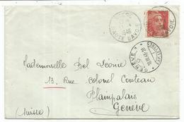 GANDON 6FR ROUGE N°721A SEUL LETTRE BOEGE 17.3.1948 HAUTE SAVOIE POUR GENEVE TARIF FRONTALIER - 1945-54 Marianne De Gandon